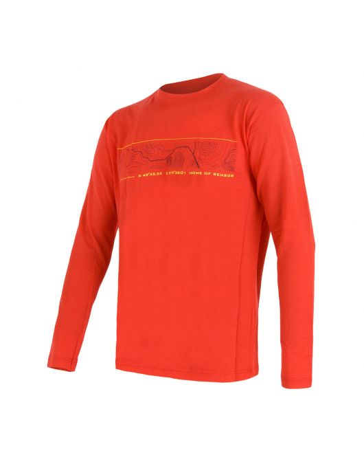 SENSOR MERINO ACTIVE PT tricou maneca lunga barbati (rosu)