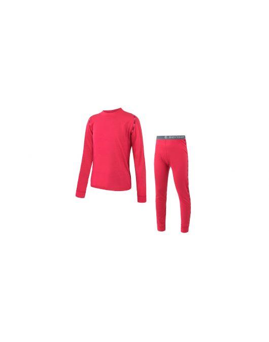 SENSOR MERINO AIR SET tricou maneca lunga + pantaloni de corp copii (pink)