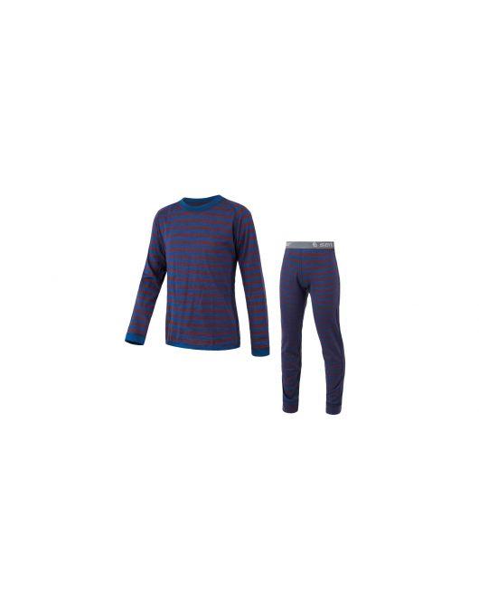 SENSOR MERINO AIR SET tricou maneca lunga + pantaloni de corp copii (albastru/rosu cu dungi)