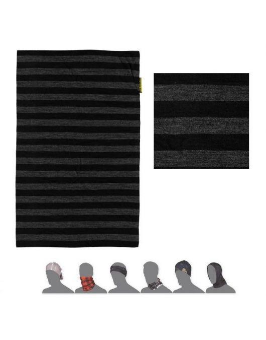 SENSOR MERINO ACTIVE bandana UNI (negru/gri cu dungi)